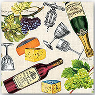 Michel Design Works Wine And Cheese Cocktail Napkin