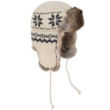 Crown Cap Mens Lambs Wool Snowflake-Knit Rabbit Trimmed Aviator