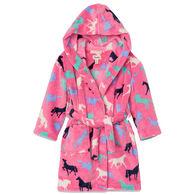 Hatley Girl's Horse Silhouettes Fleece Robe