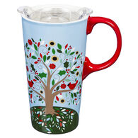 Evergreen Blooming Tree of Life Ceramic Travel Cup w/ Lid