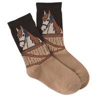 K. Bell Youth Blue Ribbon Horse Crew Sock