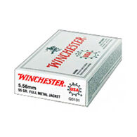 Winchester USA 5.56mm 55 Grain FMJ BT Rifle Ammo (20)
