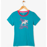 Hatley Women's Patterned Moose Pajama Short-Sleeve Shirt