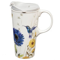 Evergreen Floral Garden Ceramic Travel Cup w/ Lid