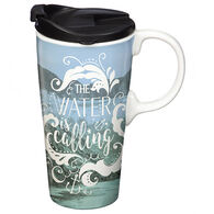 Evergreen The Water is Calling Ceramic Travel Cup w/ Lid