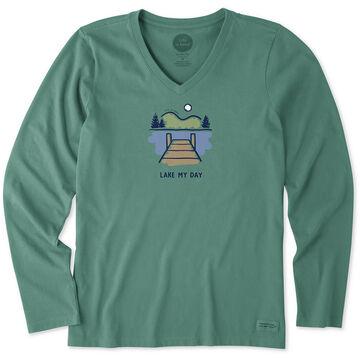 Life is Good Womens Lake My Day Crusher Vee Long-Sleeve T-Shirt