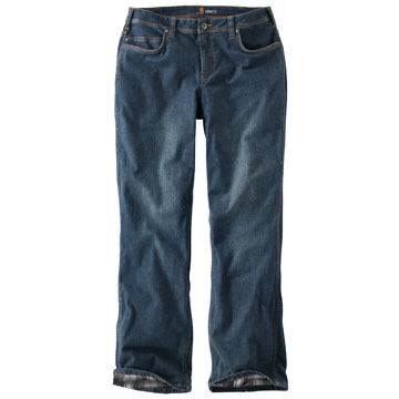 Carhartt Womens Relaxed-Fit Denim Flannel-Lined Boone Jean