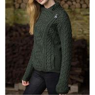 Aran Crafts Women's Short Side Zip Cardigan