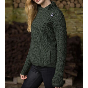Aran Crafts Womens Short Side Zip Cardigan