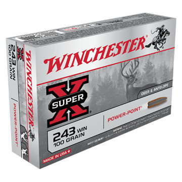 Winchester Super-X 243 Winchester 100 Grain Power-Point Rifle Ammo (20)