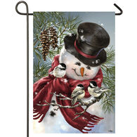 Evergreen Snowman Snuggles Satin Garden Flag