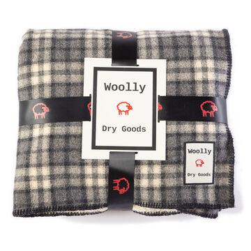 Woolly Vintage Grey/Black/Cream Reversible Blanket