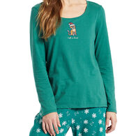 Life is Good Women's Santa Cat Long-Sleeve Sleep T-Shirt