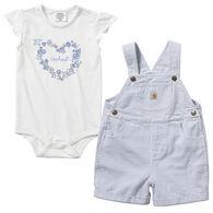 Carhartt Infant Girl's Ticking Stripe Shortall Set, 2-Piece