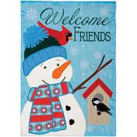 Carson Home Accents Winter Snowman Double Appliqué Garden Flag