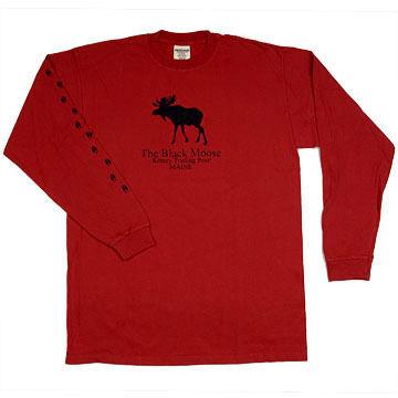 Original Design Mens Kittery Trading Post Black Moose Long-Sleeve T-Shirt