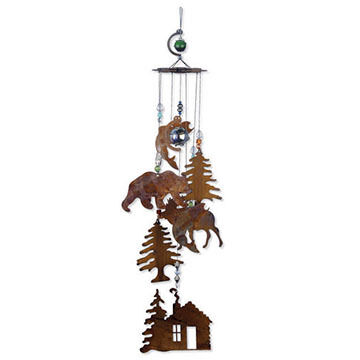 Sunset Vista Design Wilderness Wonders Rustic Cabin Wind Chime