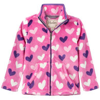Hatley Girls' Multi Hearts Fuzzy Fleece Zip Up Jacket