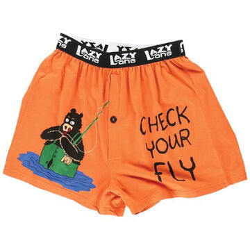 Lazy One Mens Check Your Fly Bear Comical Boxer Short