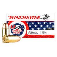 Winchester USA Target Pack 45 ACP 230 Grain FMJ Handgun Ammo (50)