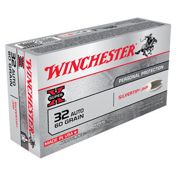 Winchester Super-X 32 Automatic 60 Grain Silvertip JHP Handgun Ammo (50)
