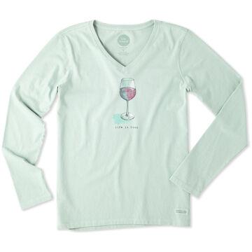 Life is Good Women's Half Full Wine Glass Long-Sleeve V-Neck Crusher T-Shirt