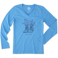 Life is Good Women's Happy Trails Boots Engraved Crusher Vee Long-Sleeve T-Shirt