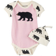 Hatley Infant/Toddler Girls' Little Blue House Bearly Sleeping Onesie w/Cap