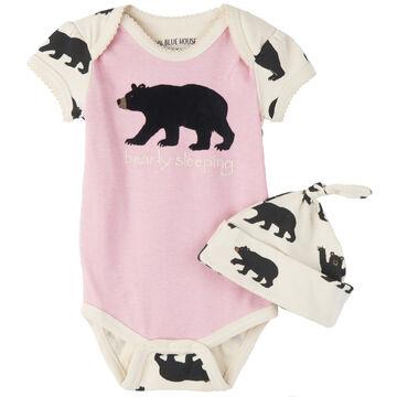 Hatley Infant/Toddler Girls Little Blue House Bearly Sleeping Onesie w/Cap