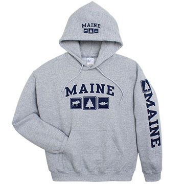 Artforms Mens Triple Maine Moose Pine Striper Hooded Sweatshirt