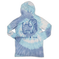Puppie Love Women's Tie Dye Pup Long-Sleeve Hoody