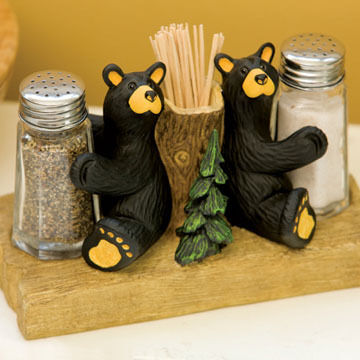 Big Sky Carvers Bear Salt & Pepper Shakers & Toothpick Holder
