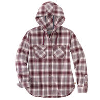Carhartt Women's Relaxed Fit Flannel Hooded Plaid Long-Sleeve Shirt