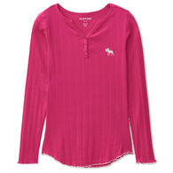Hatley Little Blue House Women's Moose Cotton Rib Henley Long-Sleeve Sleep Shirt