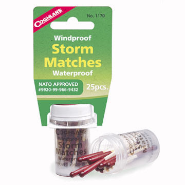 Coghlans Windproof / Waterproof Storm Matches - 25 Pk.