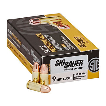 SIG Sauer Elite Performance 9mm 147 Grain FMJ Pistol Ammo (50)