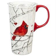 Evergreen Perching Cardinal Ceramic Travel Cup w/ Lid