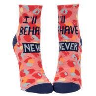 Blue Q Women's I'll Behave Never Crew Sock