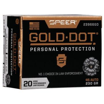 Speer Gold Dot Personal Protection 45 Auto 230 Grain HP Handgun Ammo (20)