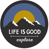 "Life is Good Explore Mountains 4"" Circle Sticker"