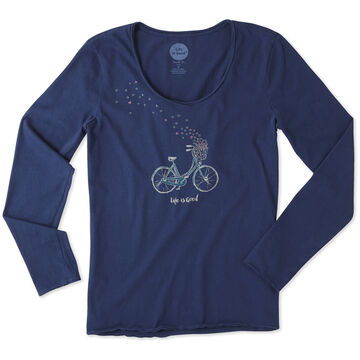 Life is Good Women's Bike Heart Basket Long-Sleeve Smooth T-Shirt
