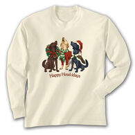 Earth Sun Moon Trading Women's Happy Howl-idays Long-Sleeve T-Shirt