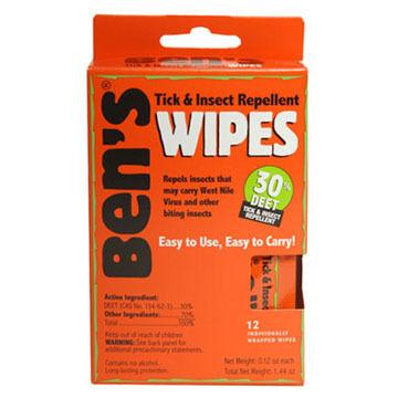 Bens 30 DEET Tick & Insect Repellent Travel Size Wipe - 12 Pk.