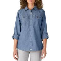 Dickies Women's Chambray Roll-Tab Long-Sleeve Work Shirt