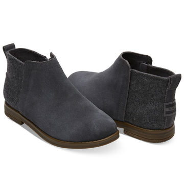 TOMS Youth Forged Iron Grey Suede Deia Bootie