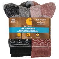 Carhartt Women's Cold Weather Wool Blend Crew Sock, 4/pk