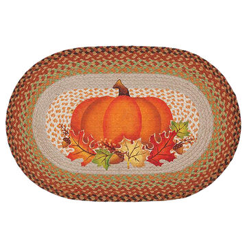 Capitol Earth Pumpkin Leaf Oval Patch Rug