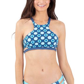 Wave Life Womens Aqua Spray Reversible Halter Swim Top