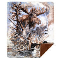 Monterey Mills Denali Moose - Sometimes I'm By Myself But I'm Never A Loon Throw Blanket