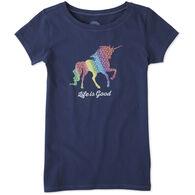 Life is Good Girl's Rainbow Unicorn Crusher Short-Sleeve T-Shirt